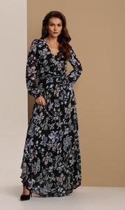 Czarna sukienka Renee maxi z długim rękawem z dekoltem w kształcie litery v