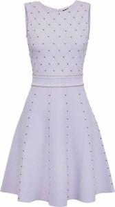 Fioletowa sukienka Elisabetta Franchi rozkloszowana mini z okrągłym dekoltem