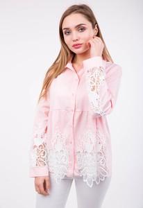 Różowa koszula Zoio z kołnierzykiem w stylu boho z długim rękawem