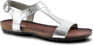 Srebrne sandały CheBello w stylu casual ze skóry
