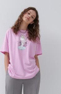 T-shirt House w młodzieżowym stylu z okrągłym dekoltem z bawełny