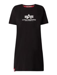 Czarna sukienka Alpha Industries w stylu casual z krótkim rękawem z okrągłym dekoltem