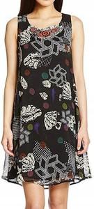 Sukienka Desigual z szyfonu z okrągłym dekoltem bez rękawów