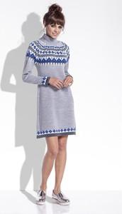 Sukienka FLORENCE z żakardu z golfem w stylu casual