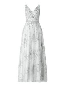 Srebrna sukienka Unique z satyny bez rękawów z dekoltem w kształcie litery v