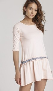 Różowa sukienka Renee mini z długim rękawem