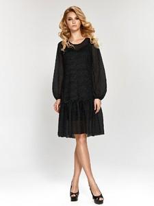 Sukienka Marselini mini z okrągłym dekoltem z długim rękawem