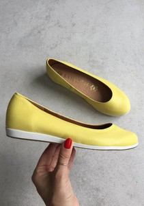 Żółte baleriny Saway z płaską podeszwą w stylu casual ze skóry