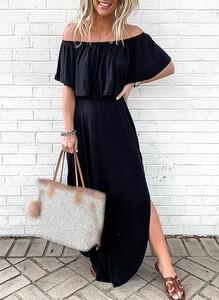 Czarna sukienka Sandbella maxi hiszpanka