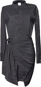 Czarna sukienka Pinko z wełny mini z długim rękawem