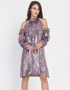Różowa sukienka Milena Płatek z długim rękawem mini