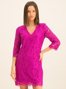 Różowa sukienka Guess z dekoltem w kształcie litery v z długim rękawem mini