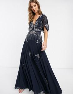Granatowa sukienka Asos Design z krótkim rękawem z dekoltem w kształcie litery v maxi