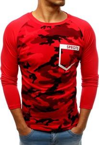 Czerwona koszulka z długim rękawem Dstreet z bawełny z długim rękawem w militarnym stylu