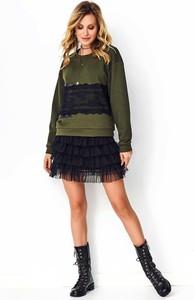 Zielona bluza Makadamia w młodzieżowym stylu z bawełny