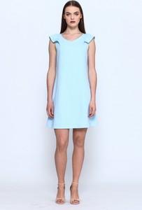 Miętowa sukienka VISSAVI w stylu casual z okrągłym dekoltem mini