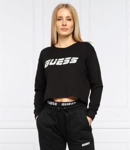 Czarna bluzka Guess z okrągłym dekoltem z długim rękawem