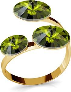 GIORRE SREBRNY PIERŚCIONEK SWAROVSKI RIVOLI 8MM 925 : Kolor kryształu SWAROVSKI - Olivine, Kolor pokrycia srebra - Pokrycie Żółtym 24K Złotem