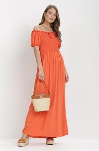Pomarańczowa sukienka born2be maxi