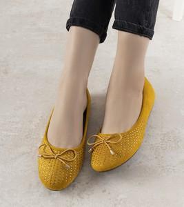 Żółte baleriny Gemre.com.pl z płaską podeszwą w stylu casual
