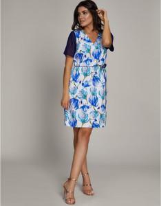 Niebieska sukienka ELEONORA PORTERA z krótkim rękawem