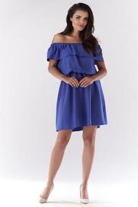 Niebieska sukienka Awama z krótkim rękawem mini
