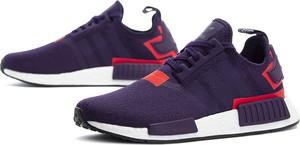 Fioletowe buty sportowe Adidas sznurowane z płaską podeszwą nmd