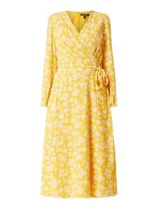 Żółta sukienka Ralph Lauren midi z dekoltem w kształcie litery v