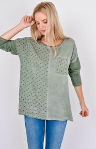 Zielona bluzka Zoio w stylu casual z okrągłym dekoltem z długim rękawem