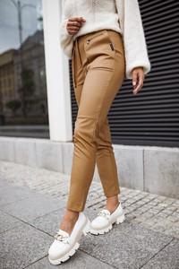 Brązowe jeansy Bastet Fashion w stylu casual ze skóry