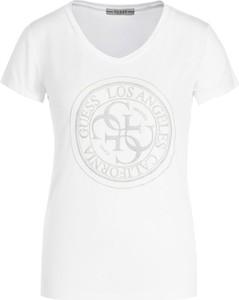 T-shirt Guess z okrągłym dekoltem z nadrukiem z krótkim rękawem
