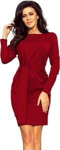 Czerwona sukienka NUMOCO z długim rękawem dopasowana z okrągłym dekoltem
