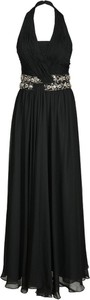 Czarna sukienka Fokus z szyfonu maxi w stylu glamour