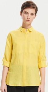 Żółta koszula Reserved z lnu