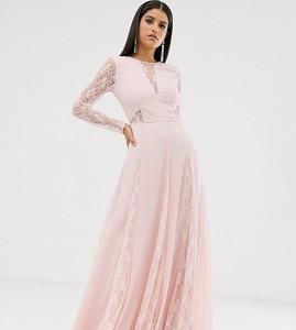 Różowa sukienka Asos z długim rękawem