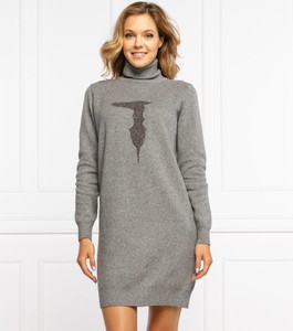 Sukienka Trussardi mini w stylu casual z wełny