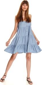 Sukienka Top Secret z dekoltem w kształcie litery v koszulowa na ramiączkach