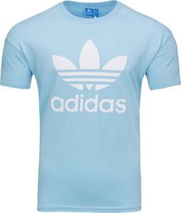 Niebieski t-shirt Adidas z bawełny z krótkim rękawem