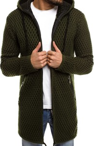 Zielony sweter breezy ze skóry bez wzorów