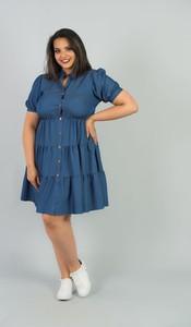 Niebieska sukienka KARKO szmizjerka w stylu casual z kołnierzykiem