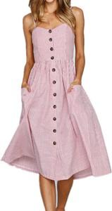 Różowa sukienka Arilook midi na ramiączkach dopasowana