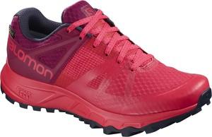 Różowe buty sportowe Salomon sznurowane z płaską podeszwą