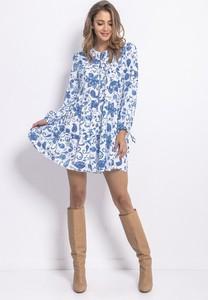 Niebieska sukienka Fobya z wełny mini z długim rękawem
