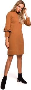 Brązowa sukienka MOE z bawełny z długim rękawem trapezowa