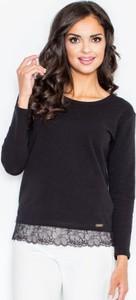 Czarna bluzka Figl z okrągłym dekoltem z bawełny z długim rękawem