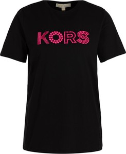 Czarny t-shirt Michael Kors z okrągłym dekoltem z krótkim rękawem