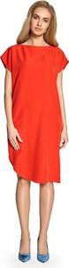 Czerwona sukienka Stylove z krótkim rękawem midi