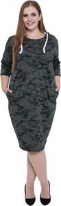 Sukienka modneduzerozmiary.pl w militarnym stylu z długim rękawem z okrągłym dekoltem