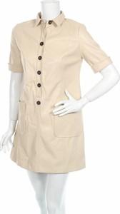 Sukienka Zara Trafaluc ze skóry mini koszulowa