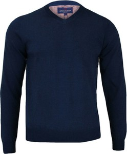 Granatowy sweter Adriano Guinari z bawełny